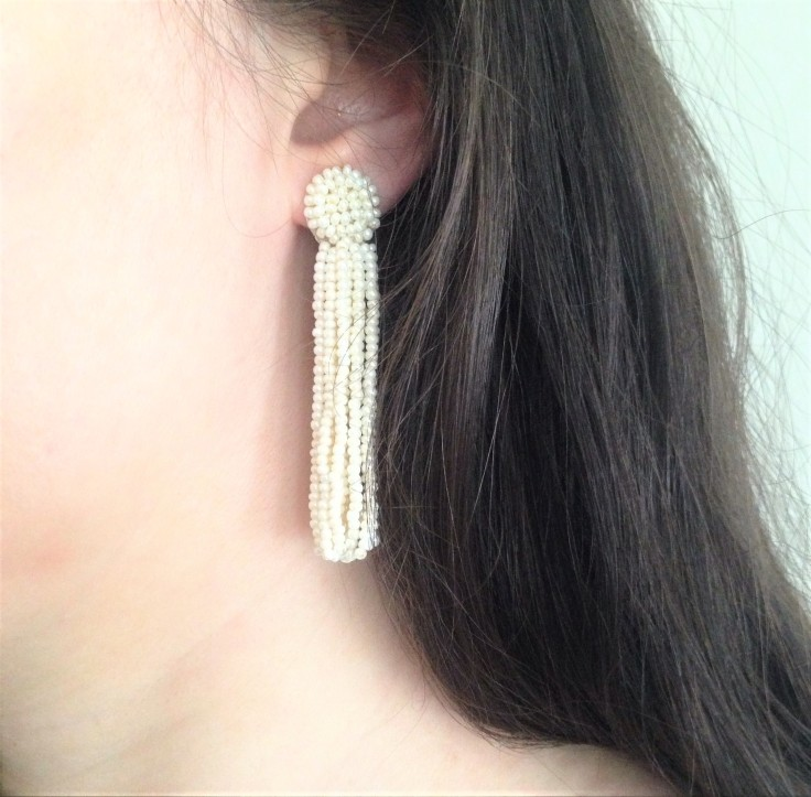 wearing deepa gurnani tassel earrings