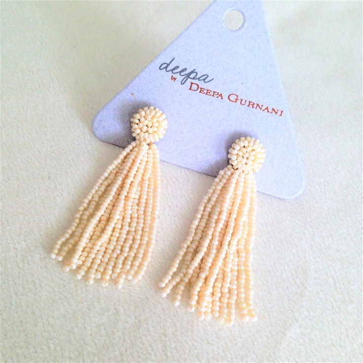 deepa gurnani bead tassel earrings