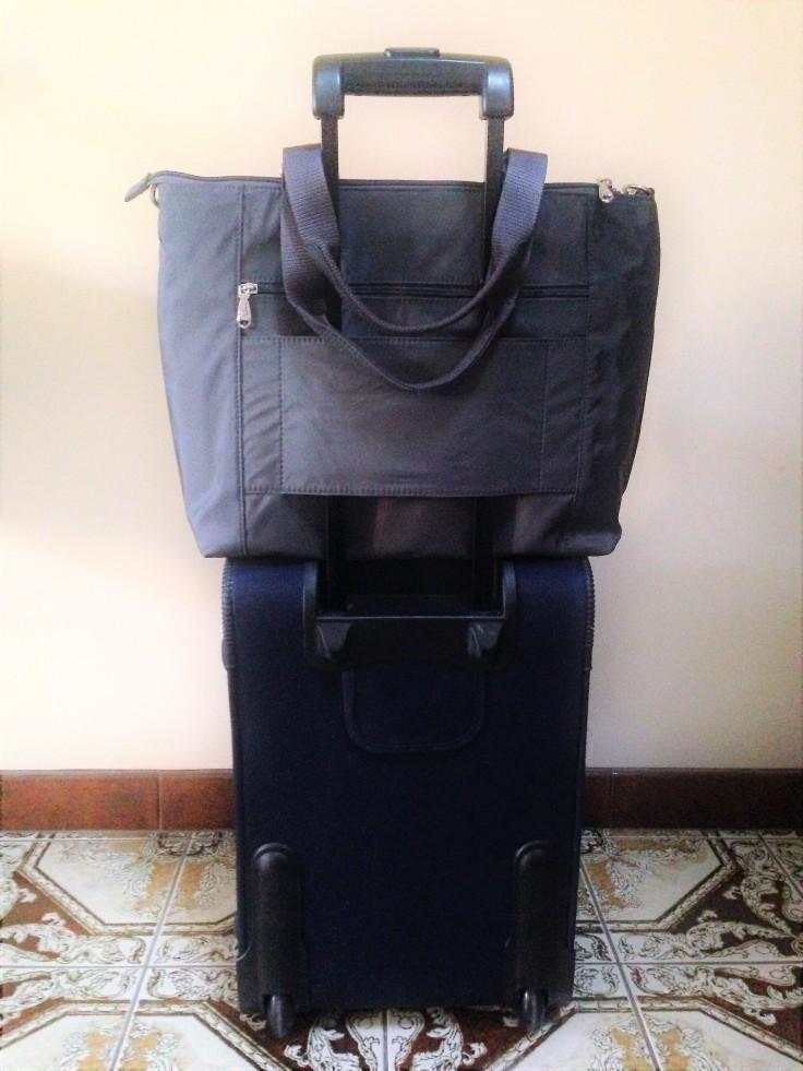 Beside U Nutopia Leather Fontana tote bag as carry on luggage