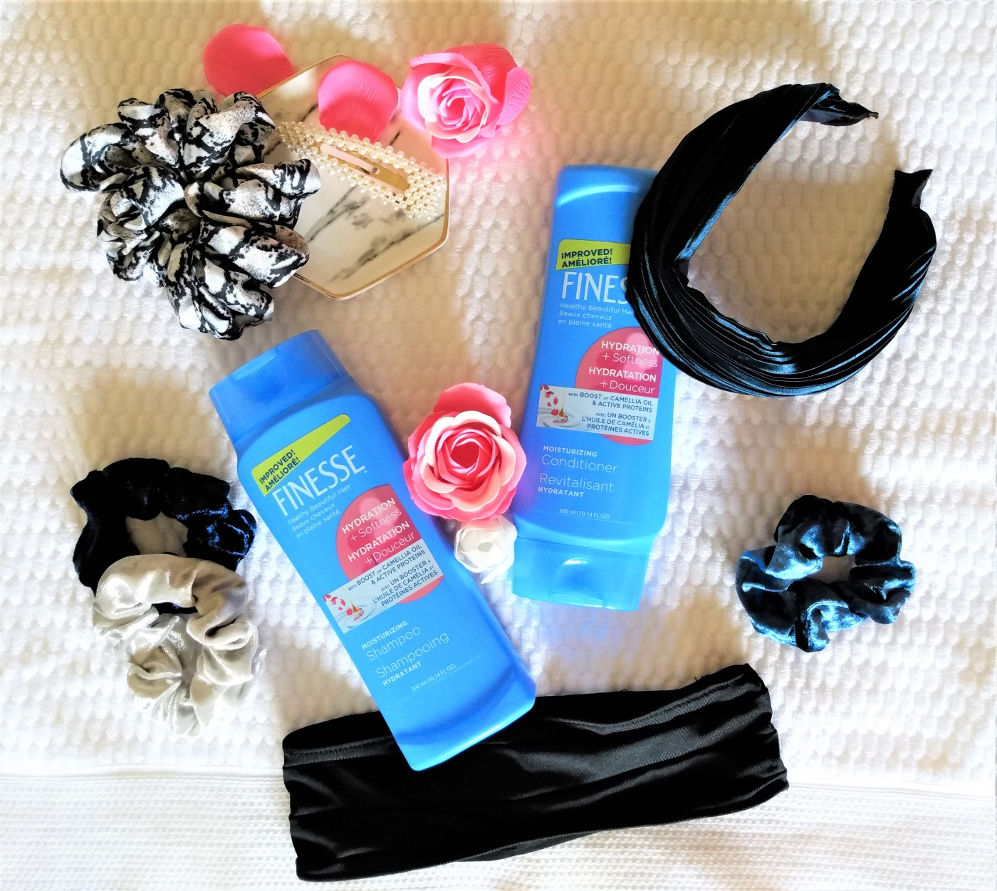 finesse moisturizing shampoo and conditioner and scunci hair accessories
